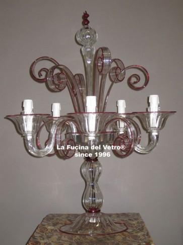 "Murano glass table flambeau ""PASTORAL"""