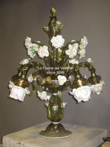 """Murano glass table flambeau """"ROSE GARDEN"""""""