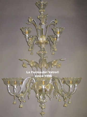 """CLASSIC TWO LEVELS"" Murano glass chandelier"