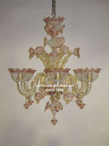 """FILIGREE DECORATED"" gold leaf Murano glass chandelier"