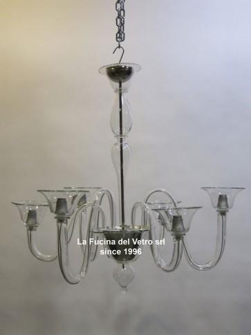 """MODERN ALTERNATE"" Transparent Murano glass chandelier"
