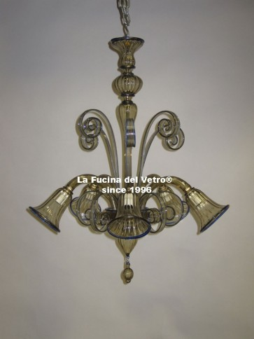 """Murano glass chandelier """"PASTORAL DOWN COLORED"""""""