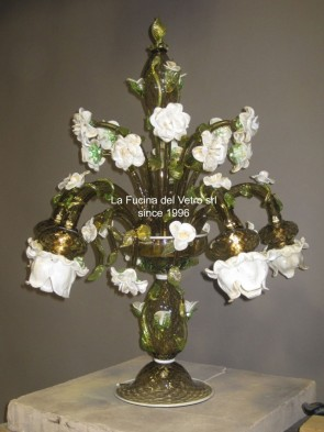 "Murano glass table flambeau ""ROSE GARDEN"""