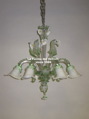 """AQUATIC GLASS PASTE"" Murano glass chandelier"
