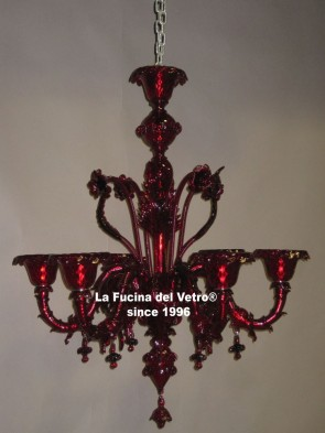 "Murano glass chandelier ""REZZONICO ARMS COLORED"""