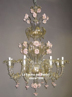 "Murano glass chandelier ""REZZONICO ARMS GLASS PASTE"""