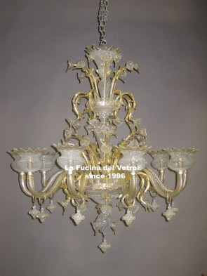 """WHITE FILIGREE""  Murano Glass Chandelier"