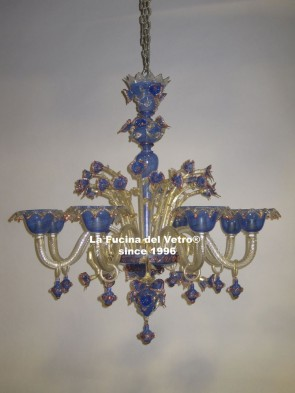 """FILIGREE COLORED"" Murano glass chandelier"