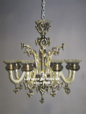 """BLACK FILIGREE"" Murano glass chandelier"