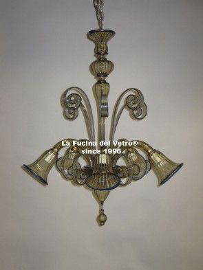 "Murano glass chandelier ""PASTORAL DOWN COLORED"""