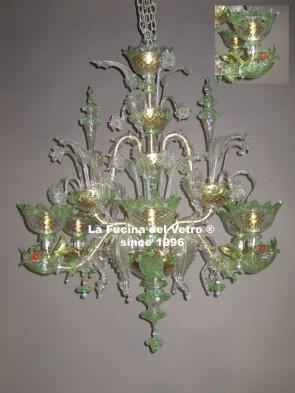 "Murano glass chandelier ""REZZONICO LAGOON"""