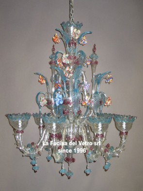 "Murano glass chandelier ""MINIREZZONICO CLASSIC COLORED"""