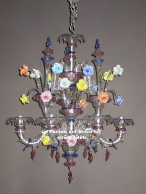 """Murano glass chandelier """"MINIREZZONICO GLASS PASTE"""""""