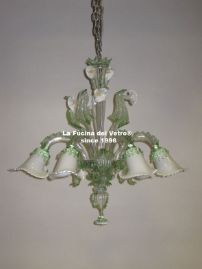 """AQUATIC GLASS PASTE"" Murano glass chandelier"