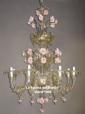 """Murano glass chandelier """"REZZONICO ARMS GLASS PASTE"""""""