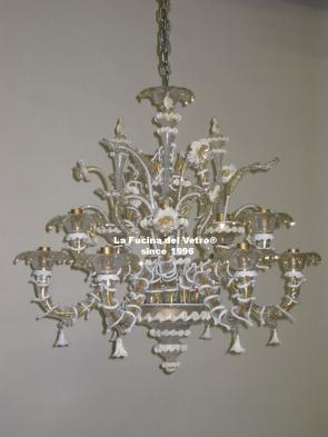 "Murano glass chandelier ""MINIREZZONICO FILIGREE"""