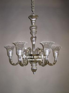 """MODERN MIRRORED"" Murano glass chandelier"