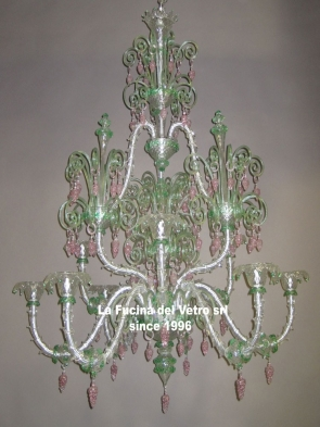 "Murano glass chandelier ""REZZONICO BACCHUS"""
