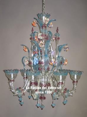 """Murano glass chandelier """"MINIREZZONICO CLASSIC COLORED"""""""