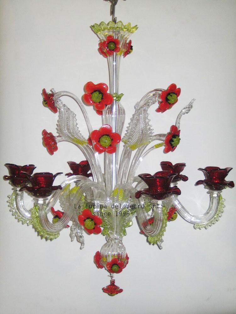 Lampadari Di Murano Antichi Prezzi.Papaveri Lampadario Floreale Classico In Vetro Di Murano Lampadari